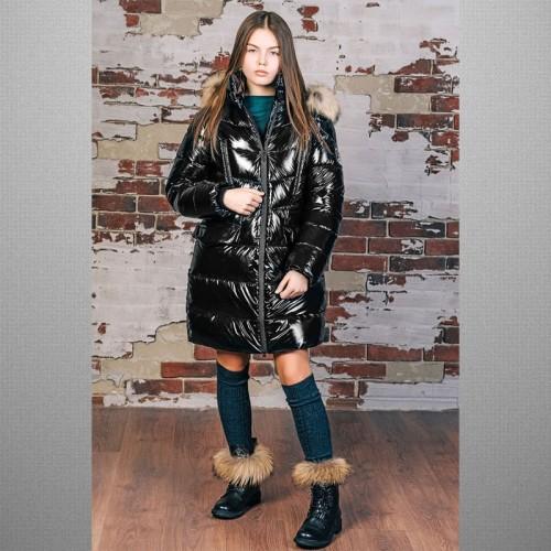 Пальто лаковое черное 3С-822 GNK