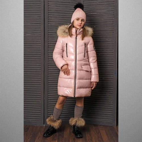 Пальто лаковое розовое 3С-822 GnK