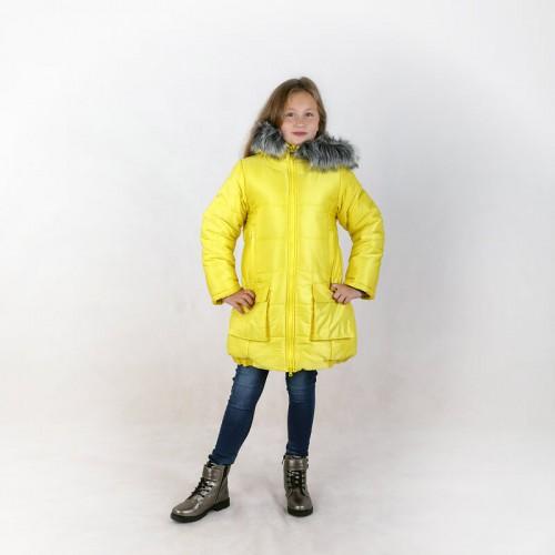 Пальто зимнее Тея желтое