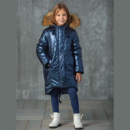 Пальто Злата 657-Д blu зимнее