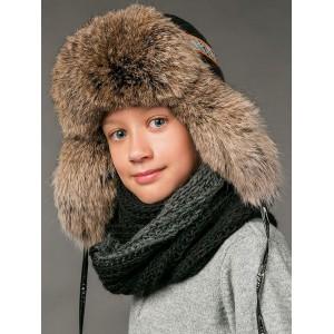 Чёрная зимняя шапка ушанка Фиона