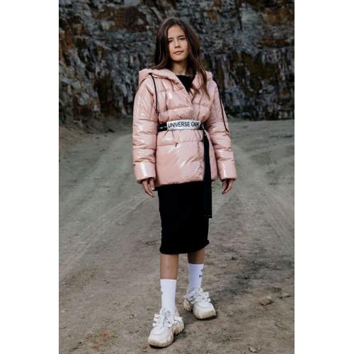 Куртка с ремнем GNK С-711 розовый пластик