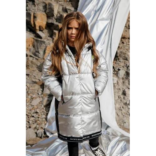Демисезонное пальто GNK С-724 серебристый металлик