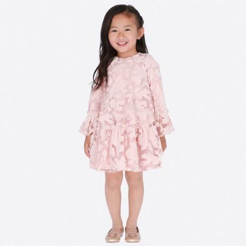 Бархатное розовое платье Mayoral 4918-32