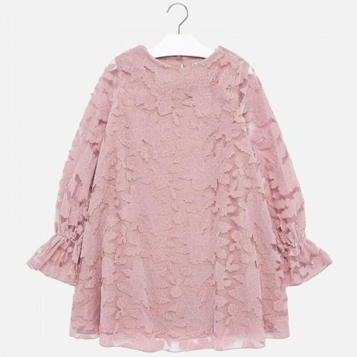 Бархатное розовое платье Mayoral 7927-79