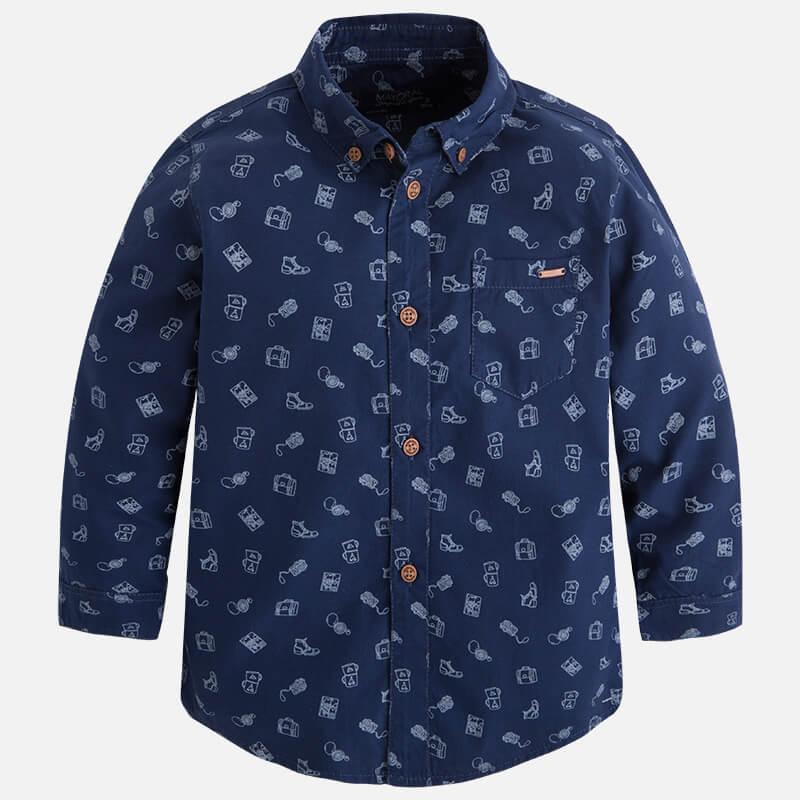 Сорочка Mayoral 4147-11 синяя купить мальчикам 2-9 лет